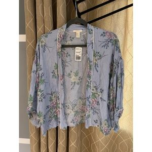 Cardigan/kimono - blue floral print